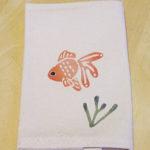 型染めブックカバー 金魚と水草