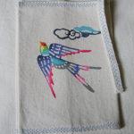 型染めブックカバー 小鳥と端雲