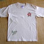 型染めTシャツ 菊と芭蕉