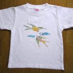 型染めTシャツ 小鳥と端雲